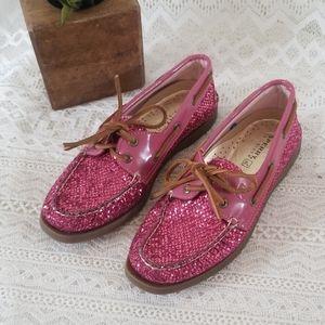 Sperry Top- Sider Hot Pink Gitter Shoes NWOT